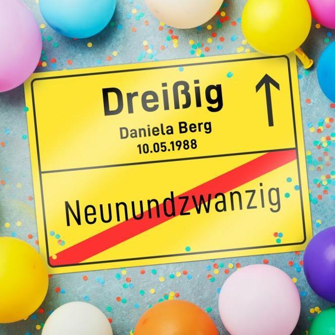 Personalisiertes Ortsschild - 30. Geburtstag