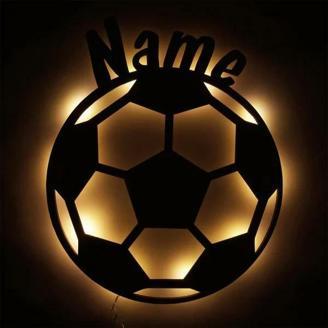 Holzleuchte - Fußball mit Name