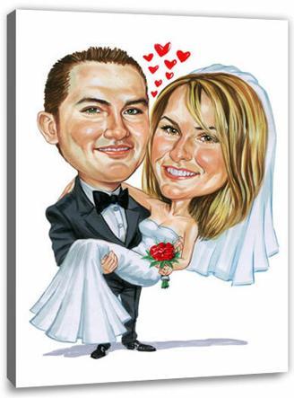 Karikatur vom Foto - Hochzeit