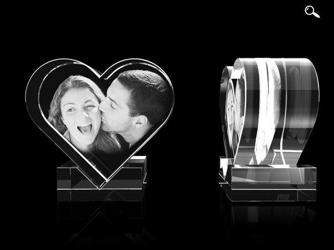 Glasfoto - Herz mit Halter