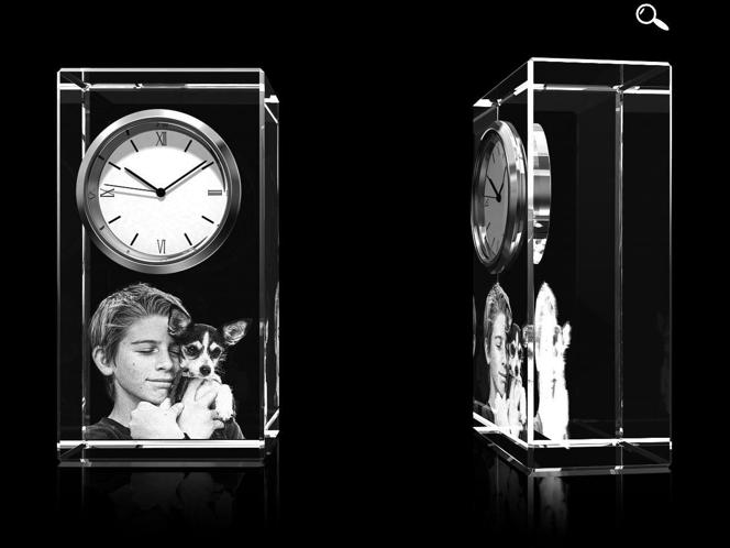 Glasfoto - Uhr, Glas eckig