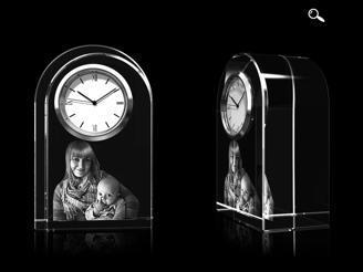 Glasfoto - Uhr, Glas rund