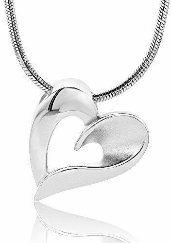 Miore Damen-Halskette mit Anhänger - Damen-Collier aus 925 Sterling-Silber mit Herz-Anhänger - Halsschmuck 45cm lang, Silber