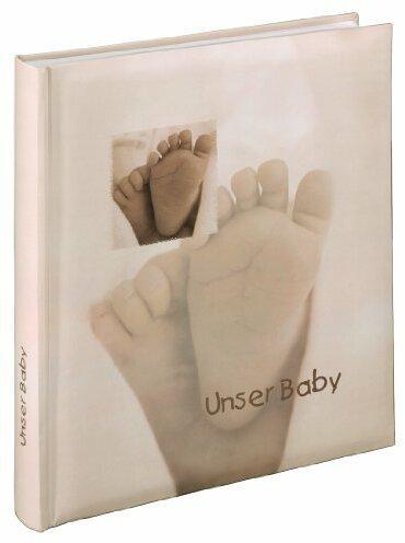 Hama Babyalbum Baby Feel (Fotoalbum mit 60 Seiten für 300 Fotos, Fotobuch für Kinderfotos, Album Format 29 x 32 cm) sand