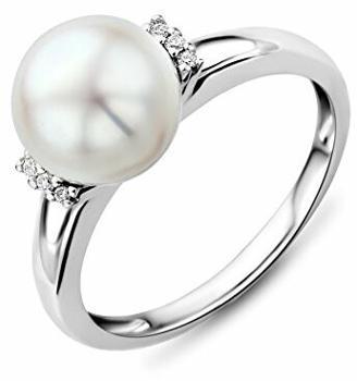 Miore Ring Damen Weißgold 9 Karat / 375 Gold Süßwasserperle mit Diamant Brillianten