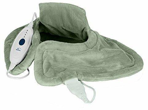 Hydas Nacken und Schulter-Heizkissen elektrisch, sichere und gezielte Wärme für Nacken, Rücken, Schultern, besonders weicher Stoff, inkl. Überhitzungsschutz (100 W, 220-240V)