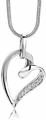 Miore Damen-Halskette mit Herz-Anhänger – Filigrane Kette aus 925 Sterling Silber mit Zirkonia Steinen – Halsschmuck 45 cm lang, Silber