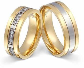 Juwelier Schönschmied - Zwei Titanringe Partnerringe Trauringe Siena Titan Zirkonia inkl. persönliche Wunschgravur NrT10HD