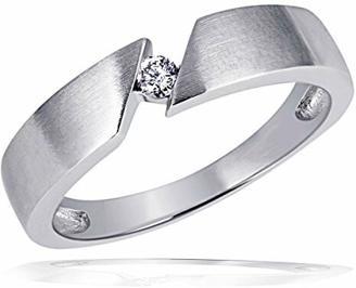 goldmaid Damen-Ring Weiss Gold 585 Solitär 1 Brillant 0,07 Karat Schrägfassung So R523WG52 Schmuck