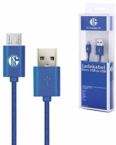 FC Schalke 04 Datenkabel / Ladekabel, Anschluss USB auf Micro USB, Länge: 1m, Farbe: blau