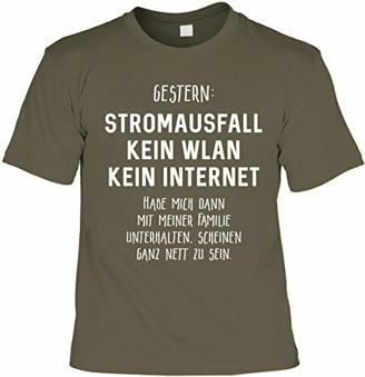 Lustiges Sprüche Shirt Geschenkartikel T-Shirt mit Urkunde Gestern: Stromausfall Kein WLAN Kein Internet Fun Artikel Partygeschenk