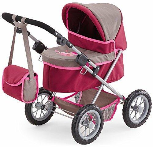 Bayer Design 13078AA Puppenwagen Trendy, höhenverstellbar, zusammenklappbar, mit Umhängetasche und integriertem Einkaufskorb, grau/pink
