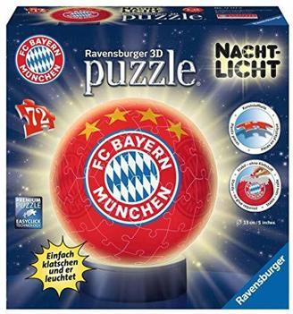 Ravensburger 3D Puzzle 12177 - Nachtlicht Puzzle-Ball FC Bayern München - 72 Teile - ab 6 Jahren, LED Nachttischlampe mit Klatsch-Mechanismus