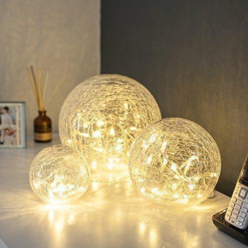 Lights4fun 3er Set LED Glaskugeln warmweiß batteriebetrieben Wohnzimmer Deko Glasball LED Kugel