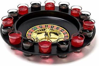 Relaxdays 10010182 Roulette Trinkspiel, Partyspiel mit Drehrad, Schnapsgläsern & Kugeln, Roulettespiel für Partys, rot/schwarz