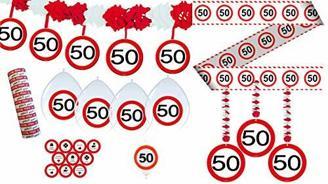 Unbekannt 34-TLG. Partyset 50. Geburtstag Dekoset Dekobox - Verkehrschild - Girlanden, Luftballons