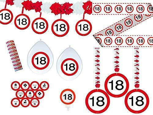 Unbekannt 34-TLG. Partyset 18. Geburtstag Dekoset Dekobox - Verkehrschild - Girlanden, Luftballons