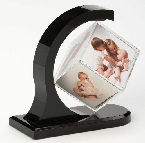 Walther MW100K Fotowürfel, schwebend für 6 Fotos à x 6 x 6, Acrylglas mit Magnet in schwarzer Halterung