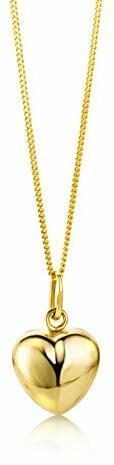Miore Kette Damen Halskette mit Anhänger Herz aus Gelbgold 9 Karat / 375 Gold, Halsschmuck 45 cm lang
