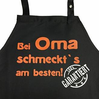 Grillkönig Bei OMA schmeckt`s am besten! Garantiert! - Kochschürze, Latzschürze mit verstellbarem Nackenband und Seitentasche (Schwarz) Oma Geschenk Weihnachten