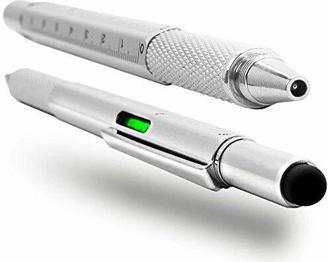 6 in 1 Pen - Stylus Pen Touchscreen - Kugelschreiber / Pen - Multifunktionales Tech Tool Kit - Wasserwage, Lineal, Schraubendreher, Stylus - Olixar HexStyli Pen - Silber