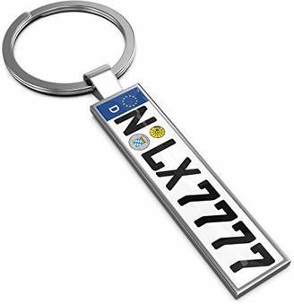 LEXTRADY Schlüsselanhänger in Premium Qualität mit KFZ Kennzeichen Autoschilder Wunschkennzeichen Wunschtext für Auto Nummernschild Geschenk personalisiert