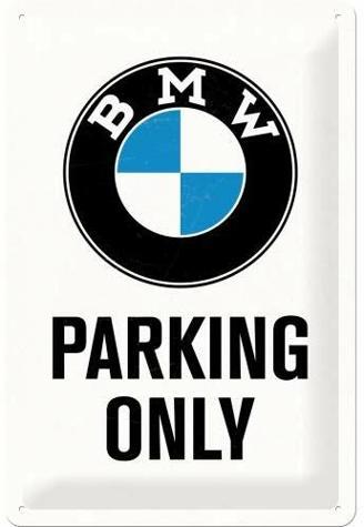 Nostalgic-Art Retro Blechschild, BMW – Parking Only White – Geschenk-Idee für Auto Zubehör Fans, aus Metall, Vintage-Design zur Dekoration, 20 x 30 cm