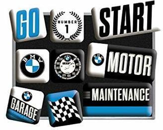 Nostalgic-Art Retro Kühlschrank-Magnete BMW – Motor – Geschenk-Idee für Auto Zubehör Fans, Magnetset für Magnettafel, Vintage Design, 9 Stück