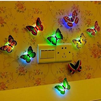 12 PCS LED Bunt Schmetterling Wanddeko Licht Party Licht von Colleer, LED Deko Beleuchtung Nachtlicht mit Saugnapf Wandleuchten Nachtlicht für Oktoberfest