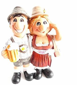 Touristen in Lederhose und Dirndl, Oktoberfest, Kunststein, handbemalt,11 x 8 cm