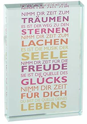 """Glasquader """"Nimm Dir Zeit ..."""", Butzon&Bercker Qualität 9x6x1cm mit Expertise und Geschenkverpackung"""