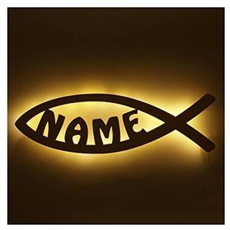 """Schlummerlicht24 Nachtlicht Lampe"""" Kommunion Fisch"""", Geschenke mit individuellem Namen, ideal als Geburtsgeschenke Taufgeschenke für das Kinderzimmer Junge Mädchen, handgemacht (Fisch)"""