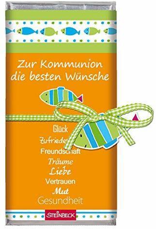 STEINBECK Kommunion Schokolade Vollmilch 100g Tafel besten Wünsche Geschenk Mitgebsel Mädchen Junge katholisch Kirche heiligen Kommunion Geldgeschenk