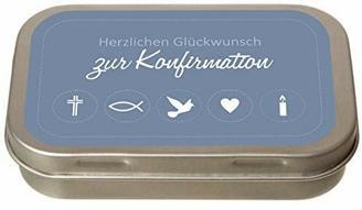 Geld-Geschenkdose Herzlichen Glückwunsch zur Konfirmation/Firmung/Kommunion - Geschenk - Geldgeschenk - Konfirmation (blau)