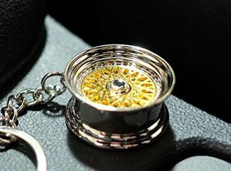VmG-Store Speichenfelge Style Gold Felge Schlüsselanhänger - massiver Anhänger OEM VAG Dub