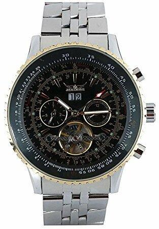 Jaragar Goldene Automatik-Mechanische Silber-Edelstahl-Armbanduhr für Herren (Silber-schwarz)