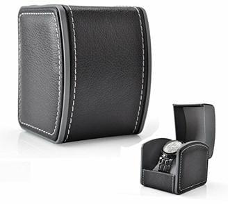 Gossip Boy Leder Uhrenbox Einzel Geschenk Schmuck Armbänder Bangles Box Uhr Armbanduhr Gehäuse Geschenk Box 10 x 8,5 x 7,5 cm,Schwarz (Grau Kissen im Lieferumfang enthalten)