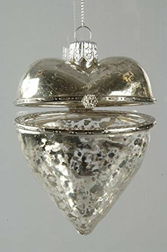 Hänger Glas Herz Herzhänger silber antik Vintage Glashänger Baumschmuck Geschenkverpackung Geschenk Überraschungsverpackung Verpackung