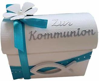 Geschenkverpackung TRUHE Taufe Kommunion/Konfirmation/Firmung/Taufe TÜRKIS