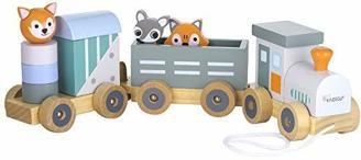 Kindsgut Holz-Eisenbahn, mit Holzbausteinen und Zoo-Tieren, dezente Farben und hochwertige Qualität, umweltfreundliche Materialien und frei von Schadstoffen, Streifen