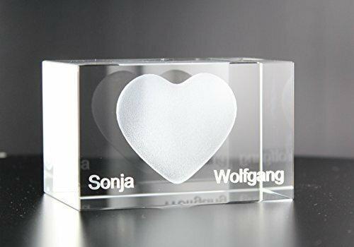 VIP-LASER 3D XL Glas Kristall Herz mit zwei Wunschnamen graviert - das ideale Liebesgeschenk Partnergeschenk Geschenk für besondere Anlässe und zum Valentinstag und Weihnachten! Persönlich mit Ihren Wunschnamen kostenlos graviert!